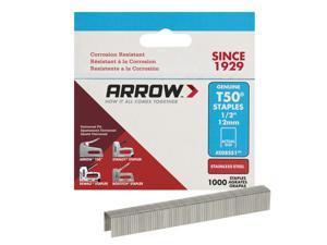 Arrow Fastener  T50  3/8 in. W x 1/2 in. L 18 Ga. Flat Crown  Heavy Duty Staples  1000 pk - Case Of: 5; Each Pack Qty: 1000; Total Items Qty: 5000