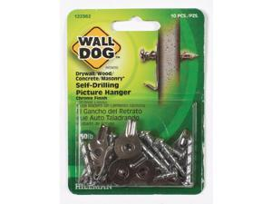Hillman WALL DOG Chrome Gold Self-Drilling Picture Hanger 50 lb. 10 pk - Case Of: 10;