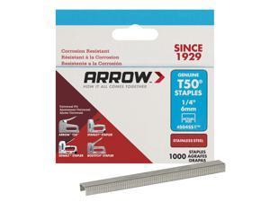 Arrow Fastener  T50  3/8 in. W x 1/4 in. L 18 Ga. Flat Crown  Heavy Duty Staples  1000 pk - Case Of: 5; Each Pack Qty: 1000; Total Items Qty: 5000