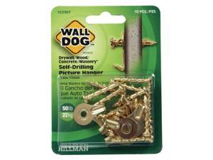 Hillman WALL DOG Brass-Plated Gold Self-Drilling Picture Hanger 50 lb. 10 pk - Case Of: 10;