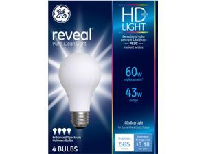 GE  reveal HD+  43 watt A19  A-Line  Halogen Bulb  565 lumens Soft White  4 pk - Case Of: 12;