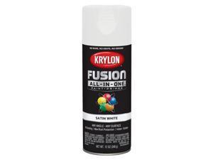 Krylon  Fusion All-In-One  Satin  White  Paint + Primer Spray Paint  12 oz. - Case Of: 6;