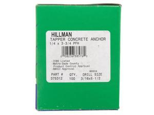 Hillman 1/4 in. Dia. x 3-3/4 in. L Steel Flat Head Concrete Screw Anchor 100 pk - Case Of: 1; Each Pack Qty: 100; Total Items Qty: 100