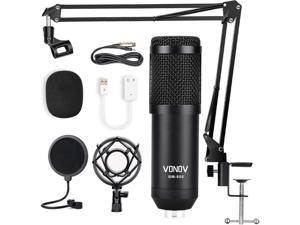 USB Streaming Podcast PC Microphone professional 192KHZ24Bit Studio Cardioid Condenser Mic Kit with sound card Boom Arm Shock Mount Pop Filter for Skype You Tuber Karaoke Gaming Recording