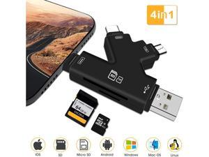 Trail Camera Viewer Memory SD Card Reader for iPhone Android IPad & Mac, 4 in 1 SD Card Reader Sd Card Viewer to View Photos Or Videos from Deer Hunting Camera On Smartphone