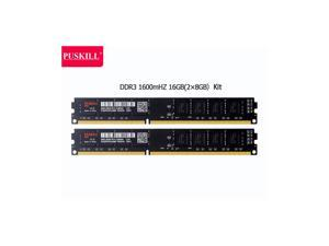 PUSKILL Desktop Ram Memory 16GB (2*8GB) Ram DDR3 1600 MHz RAM 1.5V 240 Pin Unbuffered DIMM Memory Modules Chips DDR3 1600 (PC3 12800) for Intel AMD System Desktop Computer