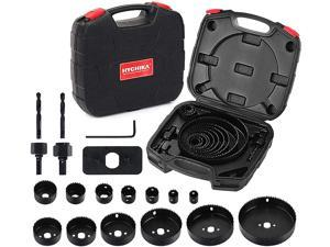 """Hole Saw Set HYCHIKA 19 Pcs Hole Saw Kit with 13Pcs Saw Blades, 2 Mandrels, 2 Drill Bits, 1 Installation Plate, 1 Hex Key, Max Size 6"""" and Min Size 3/4"""", Ideal for Soft Wood, Plywood, Drywall, PVC"""