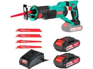 """HYCHIKA Cordless Reciprocating Saw 20V 2Ah 2 Batteries 4 Saw Blades, 0-2800SPM Variable Speed, 7/8"""" Stroke Length Tool-Free Blade Change LED Light for Wood Metal Cutting Pruning"""