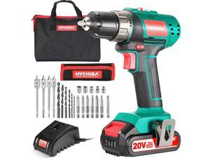 Cordless Drill Driver 20V, HYCHIKA Power Drill Set 330 In-lb Torque,1500 RPM,2.0Ah Li-Ion Battery, 1H Fast Charger, 21+1 Clutch, 2 Variable Speed & Built-in LED for Drilling Wood, Metal and Plastic