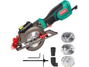 """Circular Saw, HYCHIKA 6.2A Electric Mini Circular Saw, Laser Guide, 6 Blades (4-1/2""""), Max Cutting Depth 1-11/16""""' (90°), Rubber Handle, 10 Feet Cord, Ideal for Wood Soft Metal Tile Plastic Cuts"""
