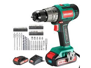 """Cordless Drill 20V Max, HYCHIKA Brushless Drill Max Torque 530 In-lbs, 2.0 AH Battery 1H Fast Charger, 21+3 Torque Setting 1/2"""" Automatic Chuck, 22pcs Drill Bit Set for Home Improvement & DIY Project"""