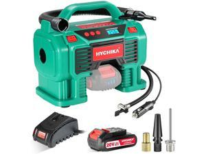 Air Compressor Tire Inflator, HYCHIKA 160PSI Portable Inflator with Pressure Gauge, 12V DC/20V 2.0Ah Battery Dual Power Supply, 1H Fast Charger, LED Light for Tires Balls and Other Inflatables