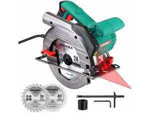 """Circular Saw, HYCHIKA 1500W/12.5A Corded Electric Saw with 5500RPM, 2Pcs Blades(24T+ 40T) Plus 1 Allen Wrench, Max Cutting Depth 2-1/2"""" (90°), 1-4/5"""" (45°)"""