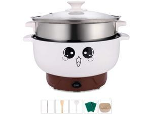 4-IN-1 Multifunction Electric Cooker Skillet Grill Pot Wok Electric Hot Pot for Noodles Cook Rice Fried Stew Soup Steamed Fish Boiled Egg Small Non-stick (2.3L, with Lid and Steamer)