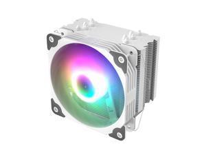 Vetroo V5 White CPU Air Cooler w/ 5 Heat Pipes 120mm PWM Processor 150W TDP Fan Intel LGA 1200 115X / AMD Ryzen AM4 Universal Socket w/Addressable RGB Sync