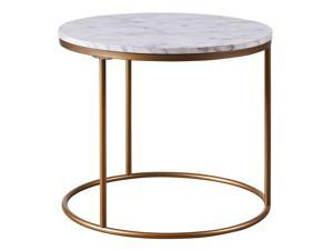 Versanora Marmo Round Circle Shape Coffee Side End Table With Faux Marble Top End Stand For Living Room Bedroom Home and Office, 20 Inch Height, Brass