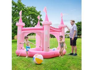 Teamson Kids - Water Fun Castle Inflatable Kiddie Pool with pump Pink TK-48271PC