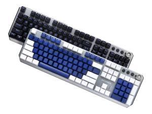 MAIBENBEN MECHREVO S2 Mechanical Gaming Keyboard 104 Keys Blue/Red/Black Switch Metal Panel Colorful Backlights Wired USB For PC Desktop Computer Laptop Notebook Black/White/Blue Keycaps