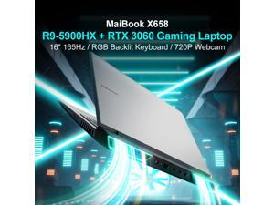 Laptops MaiBook X658 Gaming Laptop 16 Inch 165Hz Full HD ADS Anti-Glare / AMD Ryzen 9 5900HX / Nvidia RTX 3060 16GB GDDR6 DDR4 3200MHZ RAM 512GB PCI-E SSD / WIFI 6 / Genuine Windows 10 RTX 3060