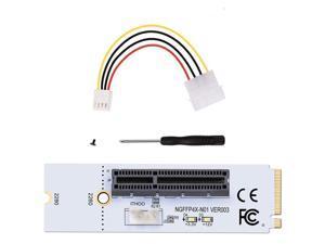 2 Set White M.2 Key M NGFF to PCI-E 4X Adapter Card & 4 PIN Power Cable Kit