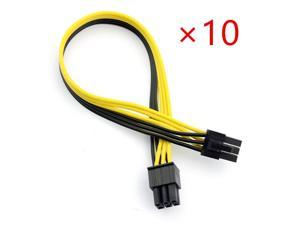 10pcs PCIE PCI Express 6 to 6 Pin Male Graphics Video Card Power Cable Connector