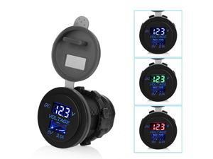 12V/24V USB Car Cigarette Lighter Socket Charger Power Adapter Voltage&current