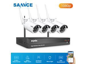 SANNCE 1080p Wireless IP Security Camera System 24/7 Protection for Every Angle with AI Human Detection,Warm Supplement Light,Smart Motion