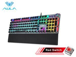 AULA F2088/F2058 Mechanical Gaming Keyboard Detachable wrist rest Multimedia Knob, 104 Keys Anti-ghosting Marco Programming metal panel LED Backlit keyboard for PC Gamer (Punk keycap)