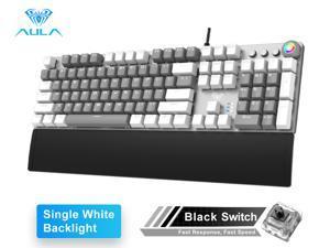 AULA F2088 Mechanical Gaming Keyboard with Media Keys, Removable Wrist Rest, RGB Rainbow Backlit, 104-Keys Anti-ghosting USB Wired PC Mac Laptop Desktop Computer Keyboards for Games/Work