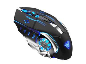 AULA SC100 Wireless Gaming Mouse Rechargeable 2400 DPI 7 Buttons Ergonomic Optical USB Mouse for PC Laptop Desktop