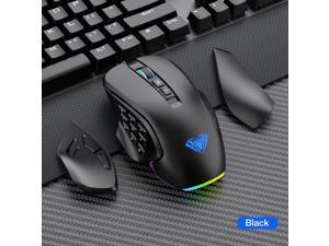 AULA H510 Wired MMO Gaming Mouse with 9 Side Buttons Programmable, RGB Chroma Backlit, High Precision 10,000 DPI Dual-Mode Office Games Mouse, Ergonomic Optical PC Mac Computer MOBA/FPS Mice