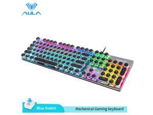 AULA S2016 Mechanical Gaming Keyboard 104 Keys Anti-ghosting Marco Programming LED Backlit Keyboard for PC Laptop(Punk keycap)