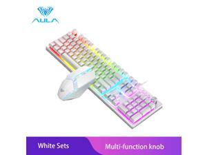 AULA T200 Wired Gaming Keyboard Mouse Combos 104 keys Multimedia Knob Mix Backlight Keyboard Gaming Set for Notebook Desktop