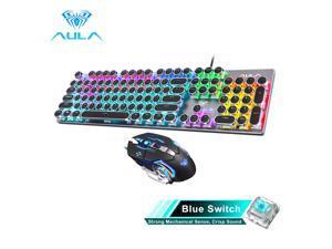 AULA S2016 Mechanical Gaming Keyboard 104Keys Anti-ghosting USB Wired Mix Backlit keyboard Blue Switch for Gamer Laptop Desktop(punk keycap)