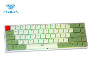 Aula F3068 68 Keys Bluetooth+Wired Dual Mode RGB Mechanical Keyboard Hot Swappable Switch Full keys Anti-ghosting Cool Backlight Effect for Pc Laptop Offical Computer