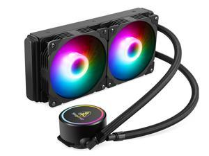 Segotep 240mm Radiator, Integrated CPU Liquid Cooler, CPU Water Cooler with Multi-Color RGB Lighting, Dual 120mm PWM Silent Fans, RGB Water Cooling System Water Cooling Kit for Intel/ AMD