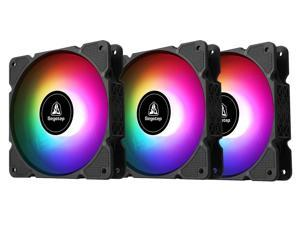 Segotep RGB Case Fans, 120mm RGB Fans PC Fans LED Colorful Fans, 12cm Computer Case Fan, 5V ARGB Motherboard Sync, Hydraulic Silent Bearing, Water Cooling Kit 3 Pin Interface, 3 Pack GX