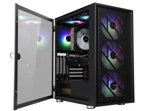 HiHOCH ATX Mid Tower Computer Gaming Case, USB 3.0 Tempered Glass PC Case, M-ATX/ITX Fully Transparent Desktop Case, 6 Fan Positions without Fans, Iron Mesh Panel Support 120/240 Liquid Cooler ZQM