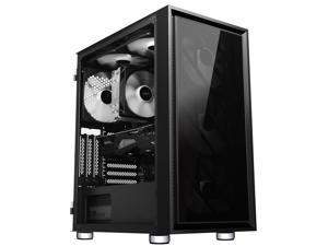 HiHOCH ATX Mid Tower Computer Gaming Case, with 3X140mm Fans, USB 3.0 Door Open Tempered Glass PC Case, M-ATX/ITX Fully Transparent Desktop Case, 6 Fan Positions, Support 120/240 Liquid Cooler ZQG
