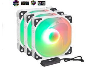 HiHOCH ARGB & PWM Case Fans, 120mm PC Fans Silent Fans with Fan Hub, 12cm Computer Case Fan,  5V ARGB Motherboard Sync, Hydraulic Silent Bearing, 4PIN PWM Interface, 3 Pack White BD