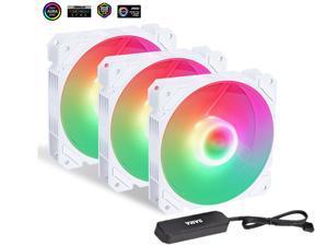 HiHOCH ARGB & PWM Case Fans,120mm PC Fans High Airflow Silent Fans with Fan Hub, 12cm Computer Case Fan,  5V ARGB Motherboard Sync, Hydraulic Silent Bearing, 4PIN PWM Interface, 3 Pack Black BFW3