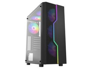 HiHOCH ATX Computer Case with 3 Fans, Mid Tower PC Case with Light Bar, Tempered Glass Side Panel Desktop Case