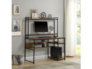 Home Office Computer Desk with 2-Tier Bookshelf and Open Storage Shelf Equipped with Removable Monitor Riser Brown