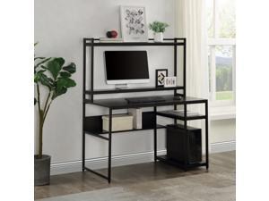 Home Office Computer Desk with 2-Tier Bookshelf and Open Storage Shelf Equipped with Removable Monitor Riser Black