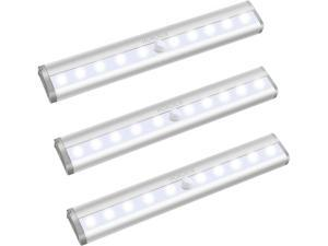 10 LED Motion Sensor Lights, Wireless Battery Operated, 3 Pack
