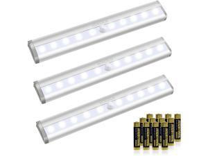 10 LED Motion Sensor Lights, Wireless Battery Operated,3 Pack (with Batteries)