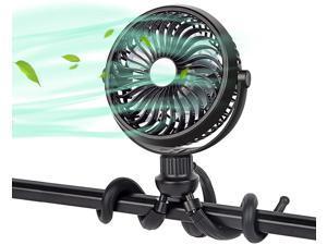 Portable Desk Fan, Handheld Personal Fan SkyGenius Rechargeable Flexible Tripod Fan for Car Seat, Camping , Bike, Treadmill (Black)