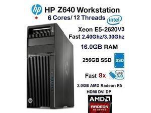 HP Z640 Demon SSD Workstation PC (Fast 6-Core 2.40Ghz@3.20Ghz E5 V3 Xeon/16GB Ram/256.0GB SSD/2.0GB AMD Radeon/W10)-Refurb