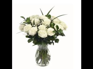 Maya's Flowers - 18 Fresh White Roses