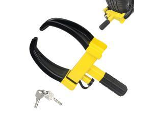 """Wheel Clamp Lock Universal Security Tire Lock Anti Theft Lock Max 10"""" Tire Width and 7"""" Reach for Trailers SUV Boats ATV's Motorcycles Golf Cart Bright Yellow/Black 2 Keys"""